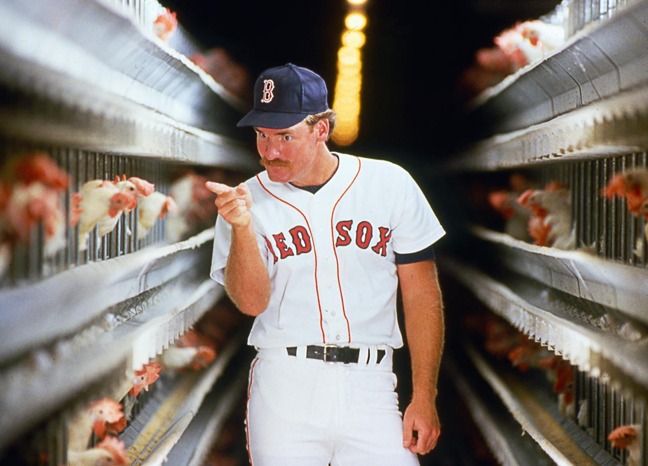 "Nicknamed ""the chicken man"" by teammate Jim Rice for his superstitious habit of eating chicken before every game, it's no secret that Wade Boggs had an affinity for poultry. Here he makes an accusatory gesture towards a chicken for a 1986 SI cover shoot."