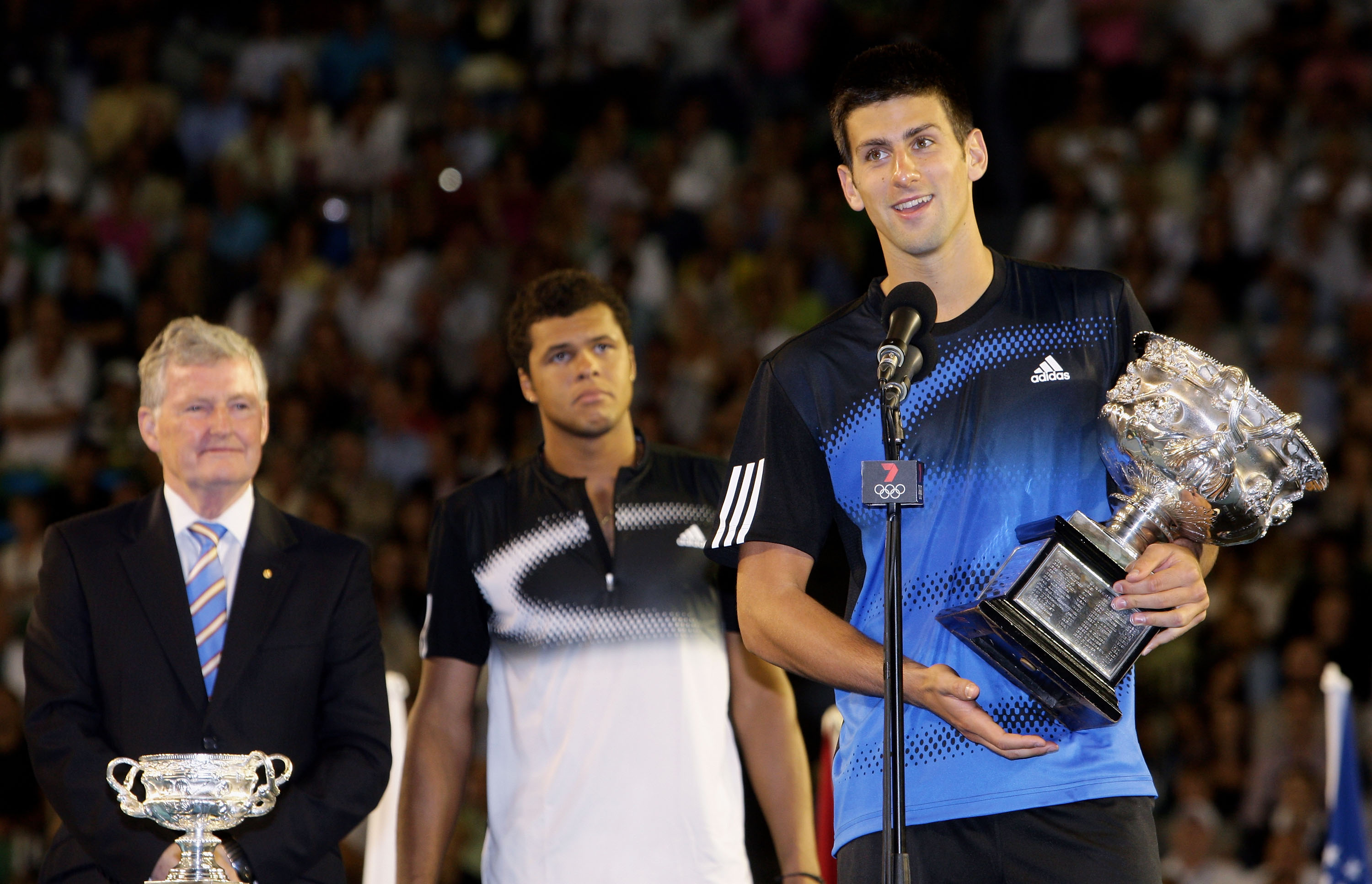 Djokovic wins his first Australian Open title in blue and black.