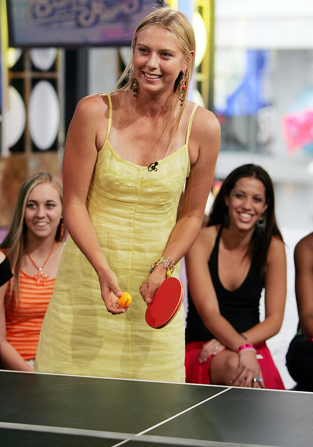 During MTV's Total Request Live in the Time Square Studios, Sharapova plays Table Tennis.