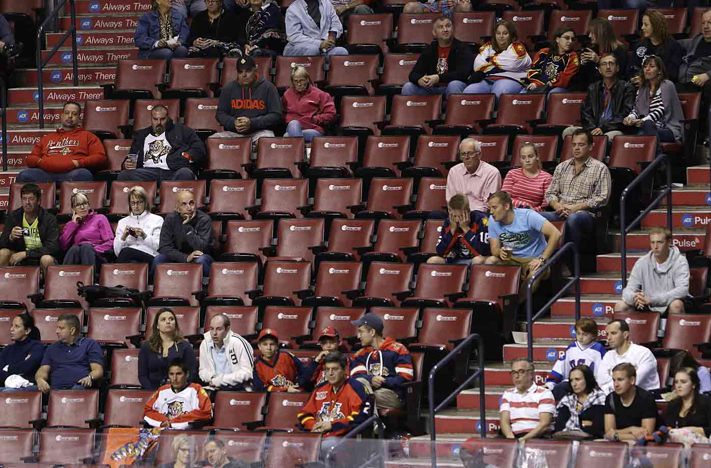 Plenty of good seats available: Crickets and owls outnumber the 7,311 fans who showed up at the BB&T Center to watch the hometown Florida Panthers take on Ottawa. The smallest NHL crowd in three years was treated to a 1-0 barn burner won by the Senators.