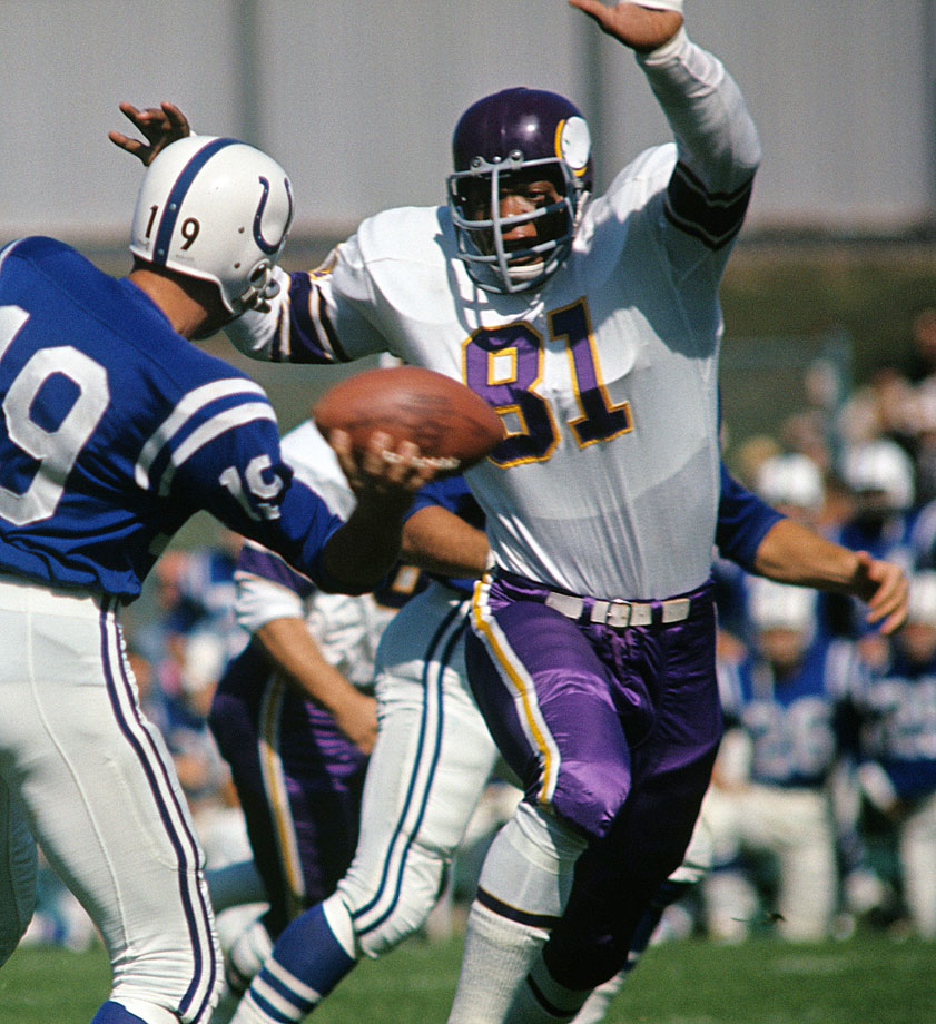 It took Eller nearly 20 years to find his way to the Hall of Fame, which seems silly in retrospect. Unofficially, he put together 44 sacks from 1975 through '77 at the peak of the Purple People Eaters' greatness, and his 23 fumble recoveries was an NFL record when he retired. He didn't miss a game from '64 through '75, and he played in all four of Minnesota's Super Bowls.