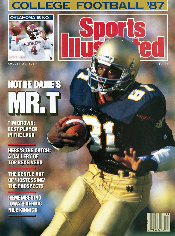 He is one of only three wide receivers to ever win the Heisman Trophy. Brown became the seventh Notre Dame player to take home the award as a senior in 2007, finishing the season with 1,847 all-purpose yards and seven touchdowns. The Dallas, Texas, native also excelled as a rusher and return man during his four-year college career.  — Runner-up: George Connor, T, Holy Cross (1942-43) and Notre Dame ('46-47)