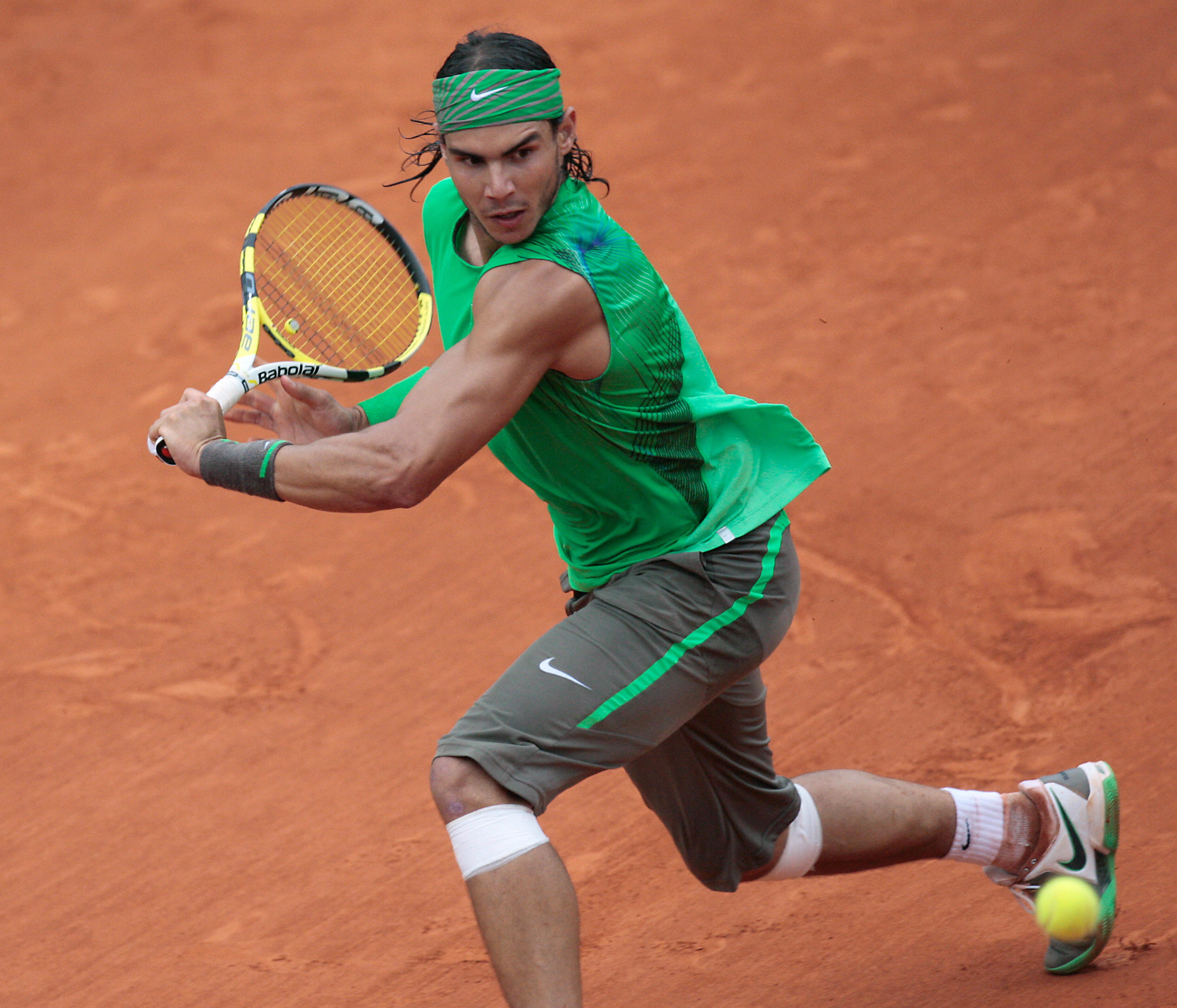 Nadal goes green in his 2008 French Open winning kit.