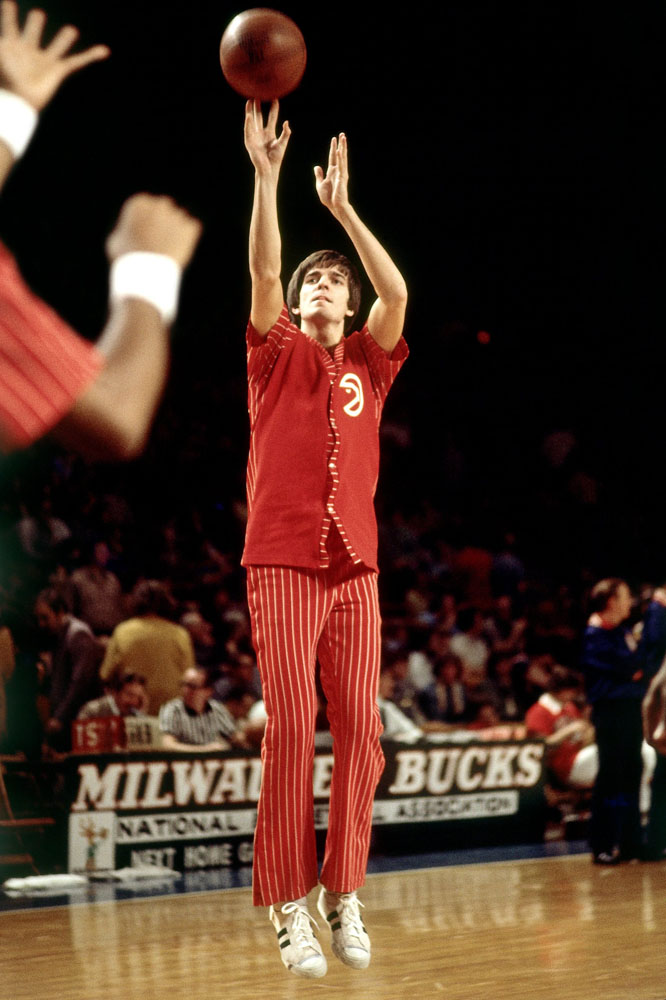Pete Maravich shoots during warm-ups prior to a game against the Milwaukee Bucks in the 1973 season at the MECCA Arena in Milwaukee, Wisconsin.
