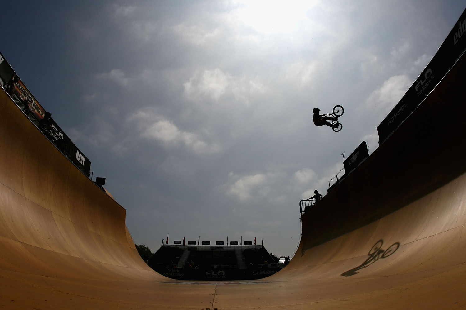 Simon Tabron practices in the BMX Freestyle Vert during X Games 14 at Home Depot Center on August 1, 2008 in Carson, California.