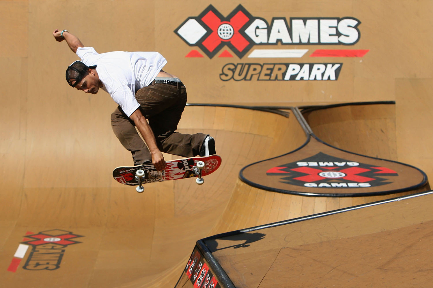 Omar Hassan practices in the Skateboard Superpark during X Games 14 at Home Depot Center on July 31, 2008 in Carson, California.