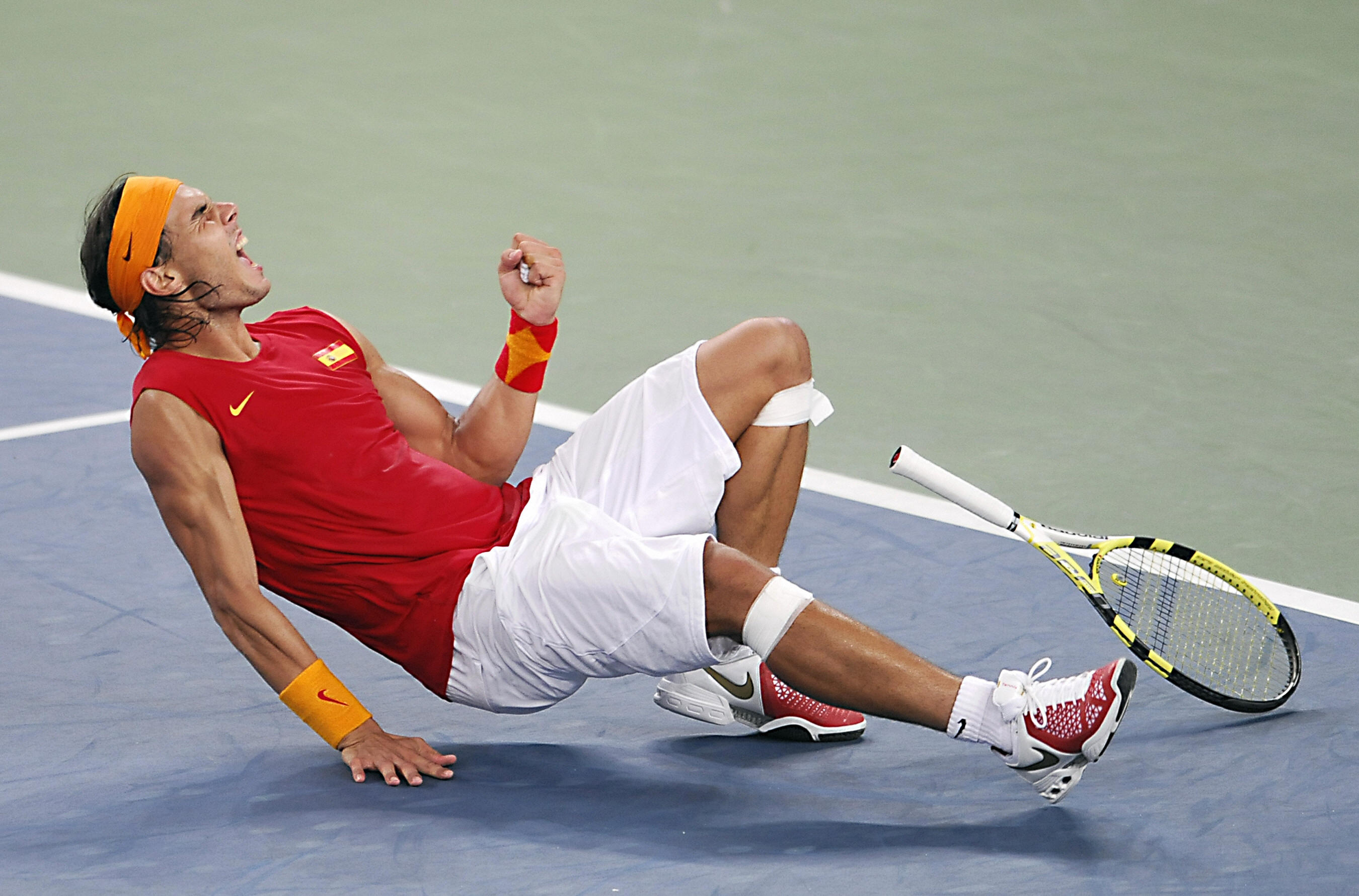 The orange headband and wristbands were odd, but Nadal's Spain kit was worthy of a gold medal in Beijing.