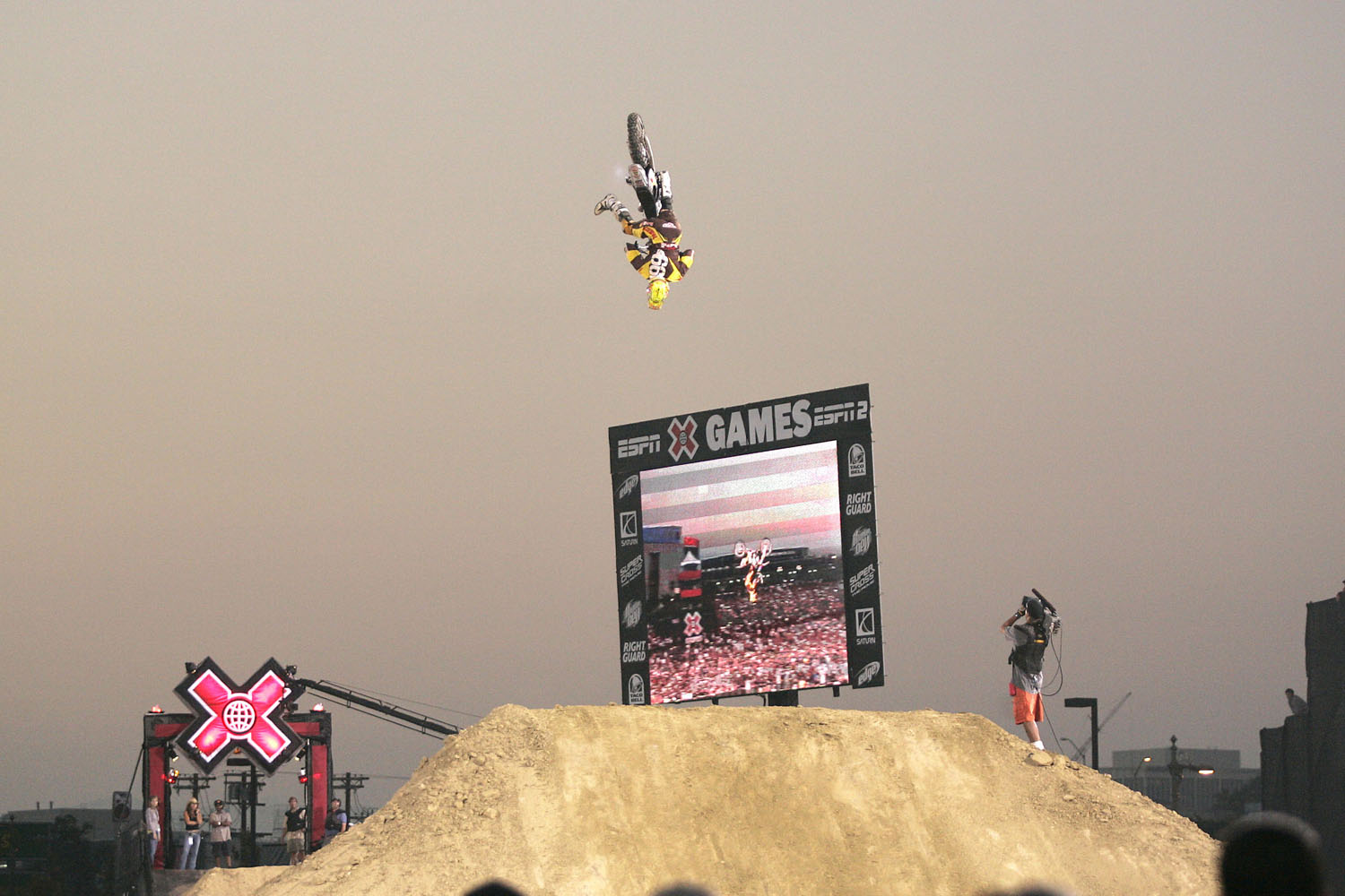 Travis Pastrana during the Moto X Best Trick contest at X Games 11 at the Staples Center in Los Angeles, California on August 4, 2005.