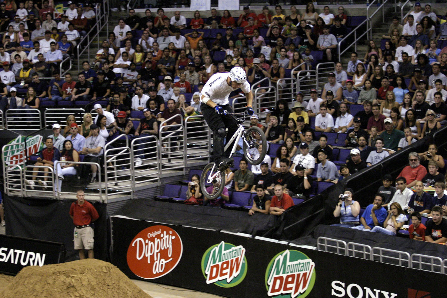 Stephen Murray catches air at the X Games 9 Bike Stunt Dirt contest held at the Staples Center in Los Angeles, California.