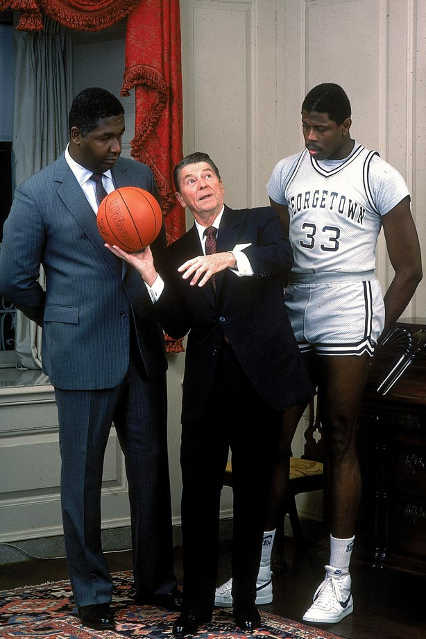 Don't quit your day job, Mr. President. In this photo, Mr. Reagan demonstrates poor shooting form for John Thompson and Patrick Ewing during a 1984 SI cover shoot. Months earlier, Thompson had become the first African-American head coach in U.S. history to win a major collegiate championship, leading Georgetown to the NCAA men's basketball title over the University of Houston.