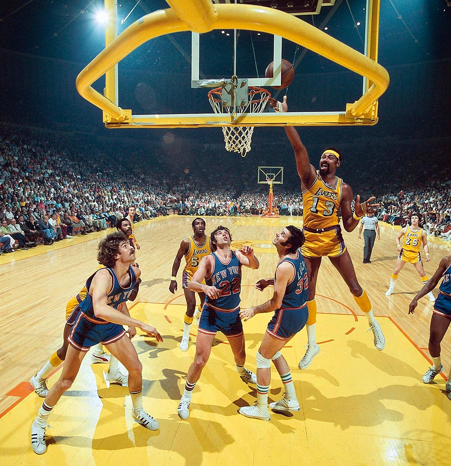 Lakers center Wilt Chamberlain took home Finals MVP honors as the Lakers defeated the Knicks in five games and won their first title since moving to Los Angeles. Chamberlain averaged 19.4 points and 23.2 rebounds on the series.