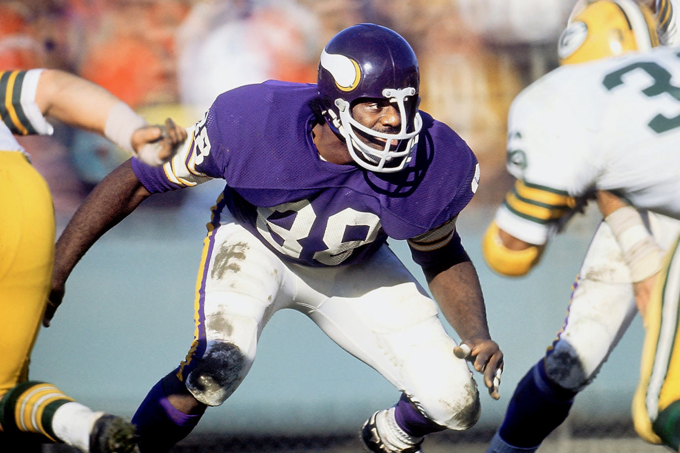 The Minnesota defensive line was full of talent, but there was little doubt that Page was the best of the lot. He won the NFL's Most Valuable Player award in 1971, a nearly unprecedented honor for a defensive player, and he made nine Pro Bowls with six first-team All-Pro honors. Waived by the Vikings in 1978, he went on to play in the formative years of the great Bears defenses of the 1980s.