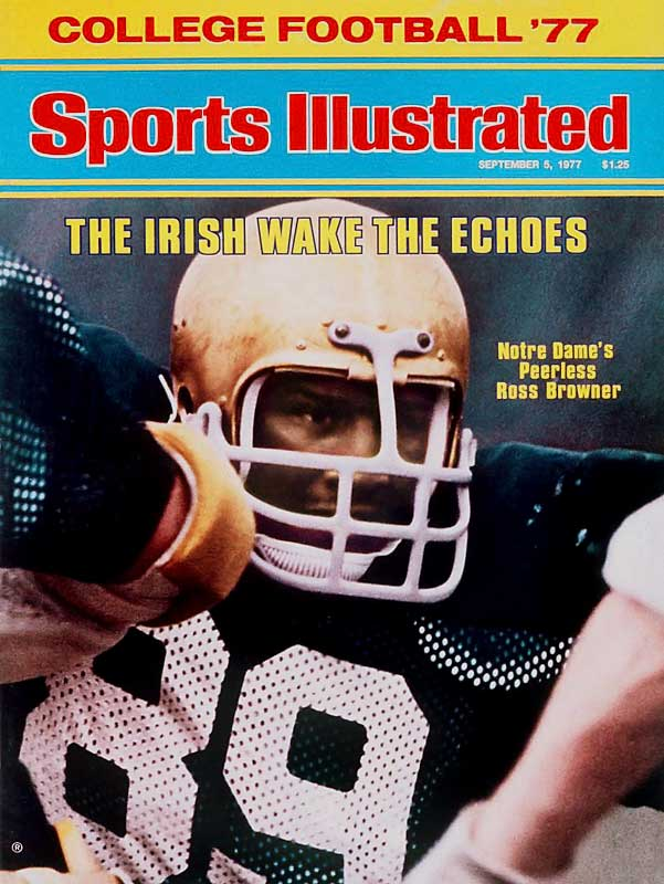 Browner's speed and strength earned him first-team All-America honors in two seasons. He helped lead the Irish to two national championships (1973, '77) and holds the record for most tackles (340) by a Notre Dame defensive lineman. — Runner-up: Barney Poole, E, Army and Ole Miss (1944-46, '47-48)