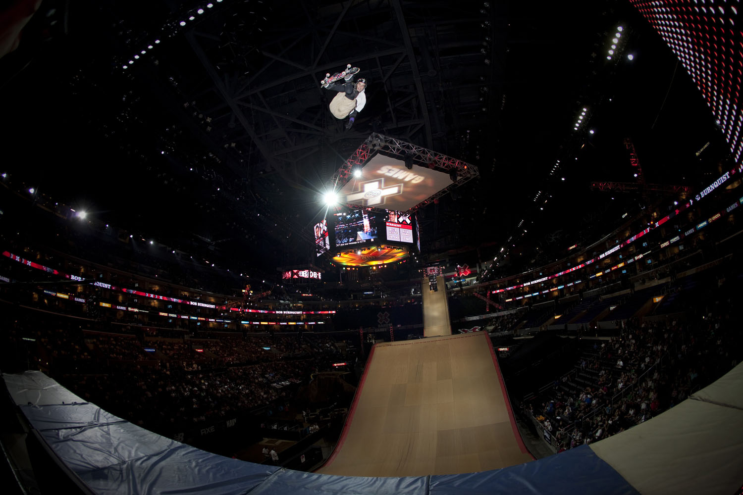 Bob Burnquist competes in Skateboard Big Air at the Staples Center on July 30, 2009 in Los Angeles, California.