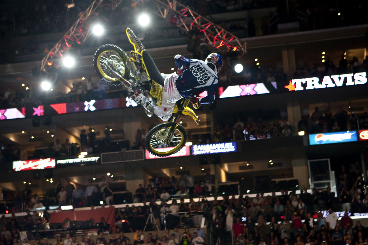 Travis Pastrana takes part in the Moto X Best Trick as part of Summer X Games 15 at Staples Center on July 31, 2009 in Los Angeles, California.