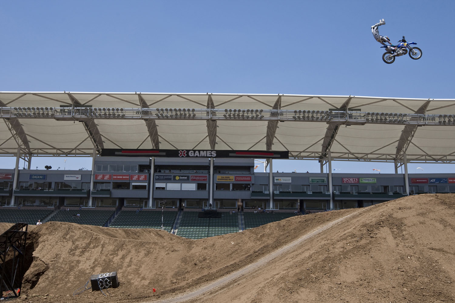 Robbie Maddison gets some serious air during the Moto X Freestyle at X Games 15 at Home Depot Center on July 31, 2009 in Carson, California.