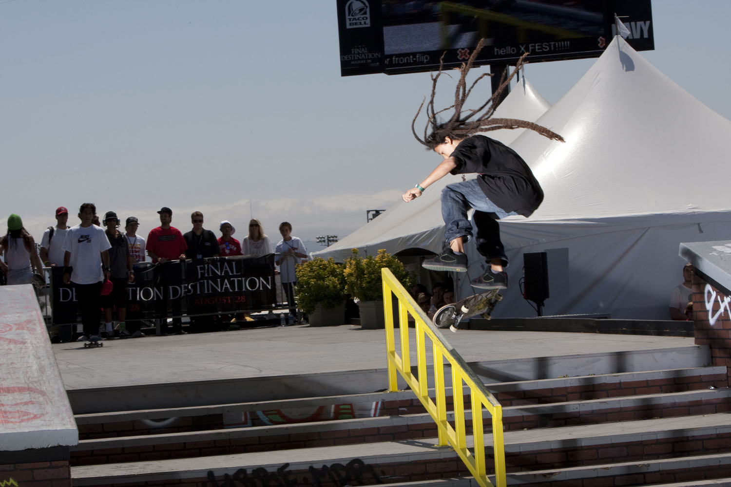 Nyjah Houston competes in the Men's Skateboard Street finals at Summer X Games 15 at Home Depot Center on August 1, 2009 in Carson, California.
