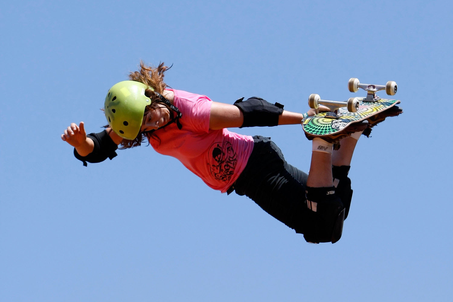 Gaby Ponce competes in the Women's Skateboard Vert final during X Games 15 at the Home Depot Center on July 30, 2009 in Carson, California.