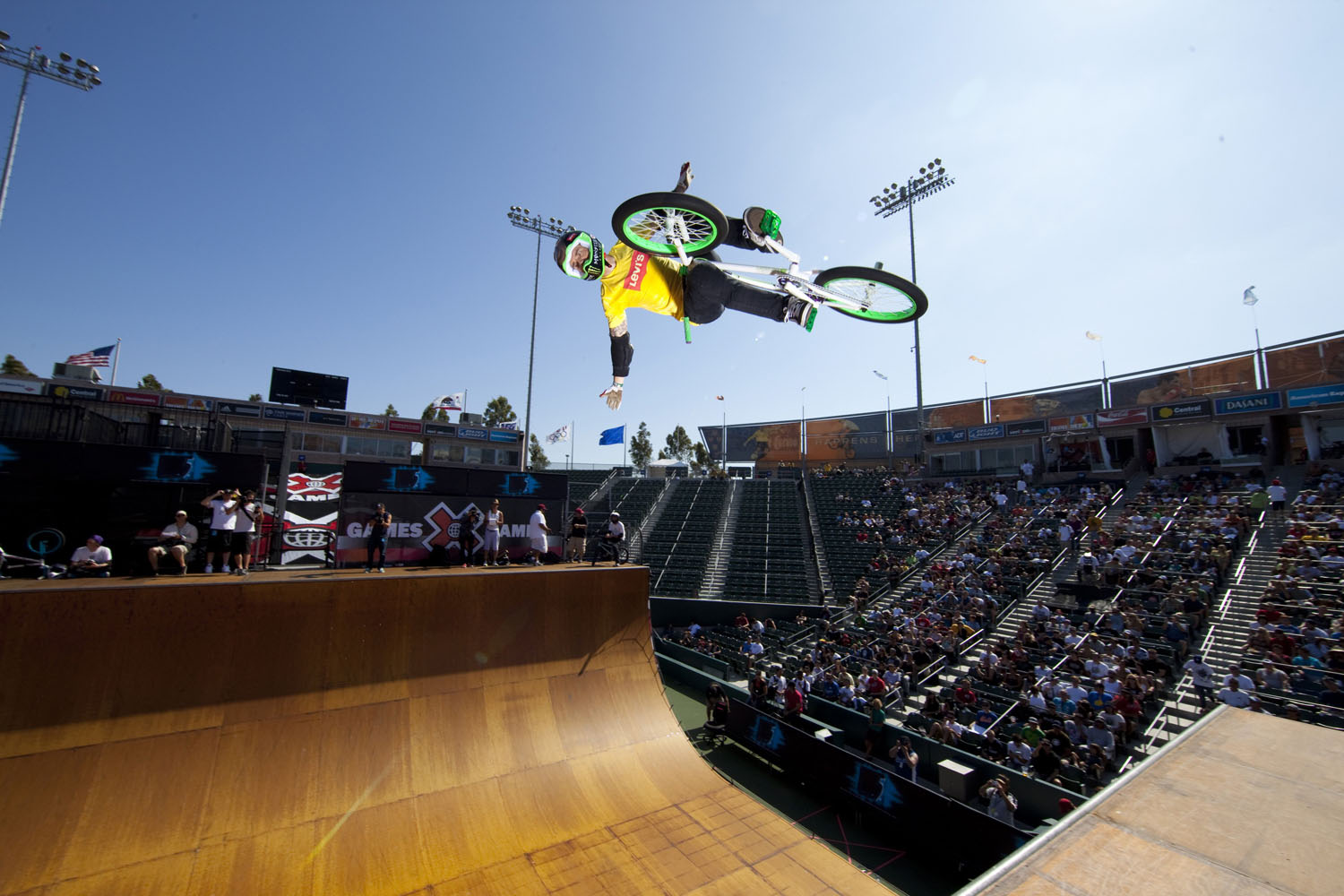 Jamie Bestwick competes in BMX Vert at Summer X Games 15 at Home Depot Center on August 1, 2009 in Carson, California.