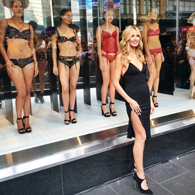 Beautiful models brought the windows at @myer to life wearing our favourite pieces from the #heidiklumintimates collection. #heidiatmyer #heididownunder