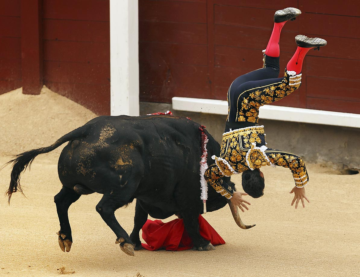 Spanish bullfighter Daniel Luque is tossed in Madrid.