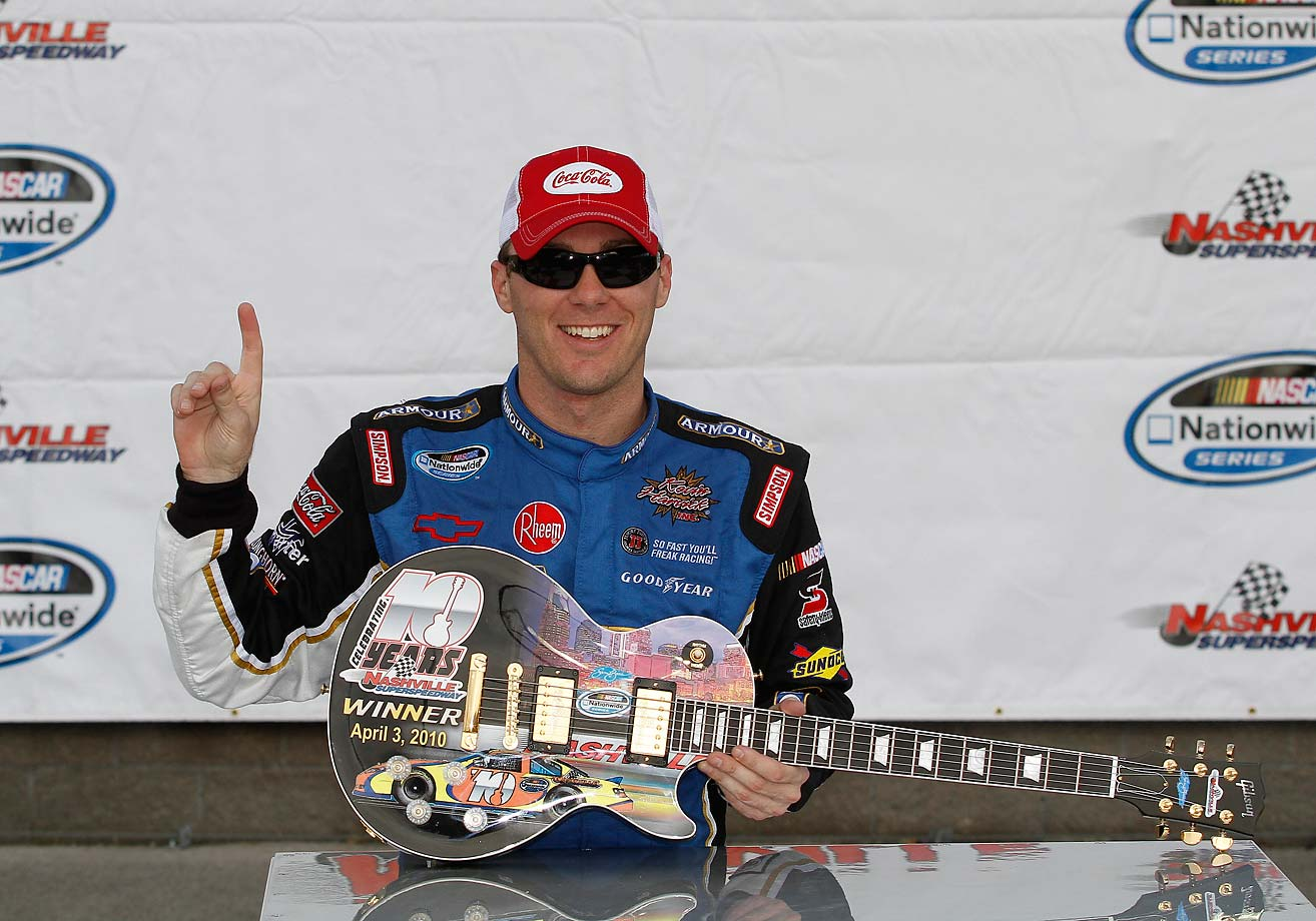 Kevin Harvick celebrates in Victory Lane after winning a Nationwide Series race in Nashville in 2010.