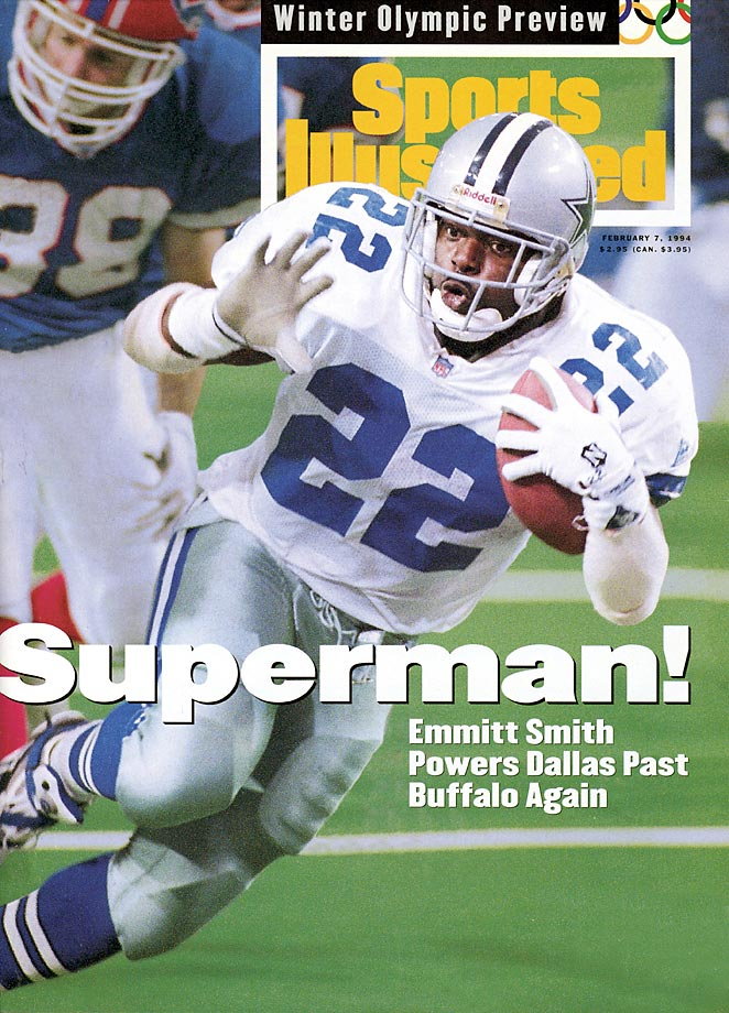 Emmitt Smith dominates the Buffalo Bills in a Super Bowl rematch, rushing for 132 yards and two touchdowns. Smith was named Super Bowl MVP as he and the Dallas Cowboys sent the Bills to their fourth straight Super Bowl defeat, 30-13.