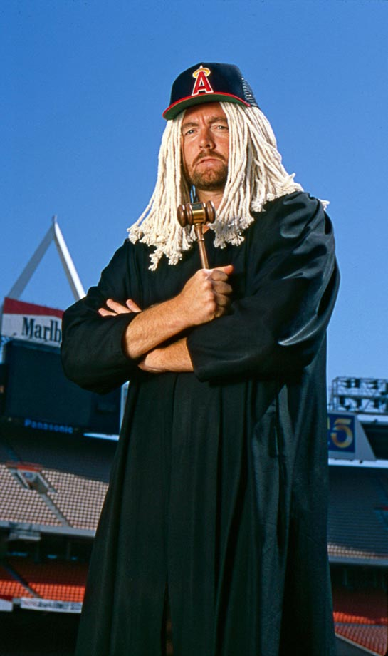 Bert Blyleven's famous curveball dropped with the speed and force of a gavel, so perhaps there's some slight symbolism in this photo of the Hall of Famer decked out in judge's regalia, complete with a mop-top wig.