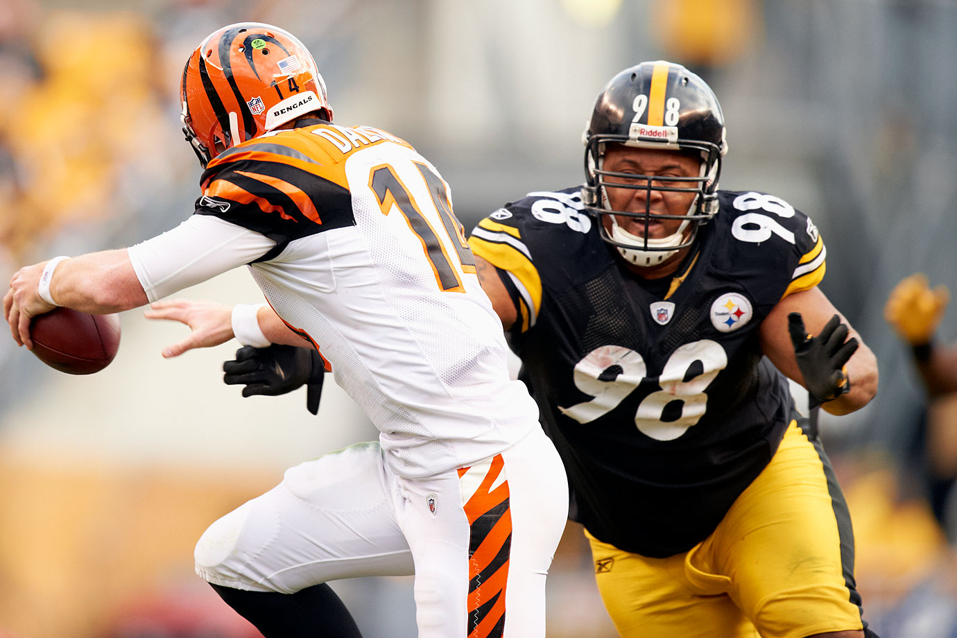 Selected in the first round out of Texas, Hampton immediately became the ideal nose tackle for Pittsburgh's 3–4 defense and really came into prominence when Dick LeBeau became the team's defensive coordinator in 2004.  Not only could Hampton hold the point against double teams so that others could succeed, he was also a sneaky-fast coverage man in LeBeau's zone blitzes. He did those jobs well enough to make five Pro Bowls in his career.