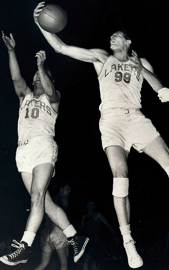 "One of the game's original superstars, Mikan was quite literally a giant among men at 6'10"" in the 1940s and 1950s. He led the Lakers to four NBA championships and one BAA title before becoming an NBA franchise. Mikan was a four-time All-Star and was named one of the 50 greatest players in NBA history in 1996."