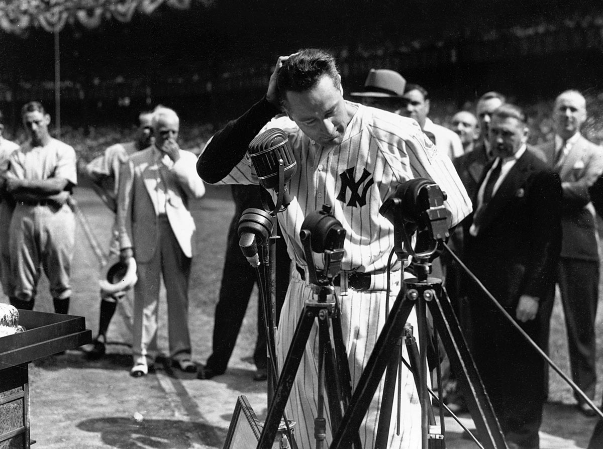 "Yankee Stadium, July 4, 1939 | The Iron Horse started 2,130 straight games, but his most famous moment on a baseball field was likely this speech. Gehrig called himself ""the luckiest man on the face of this earth"" in his 277-word speech to the crowd at Yankee Stadium, only weeks after being diagnosed with the incurable neurological disease amyotrophic lateral sclerosis (or ALS), which now bears his name."