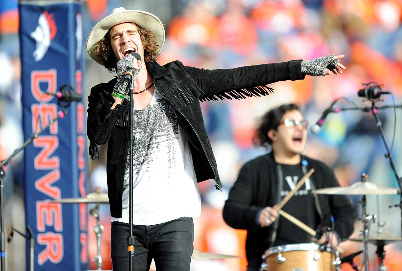 Zac Barnett of American Authors performs at halftime of the AFC Championship game.