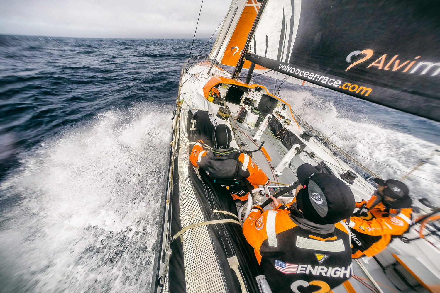 Leg 1 onboard Team Alvimedica on day 22 with a full sail on the way east.