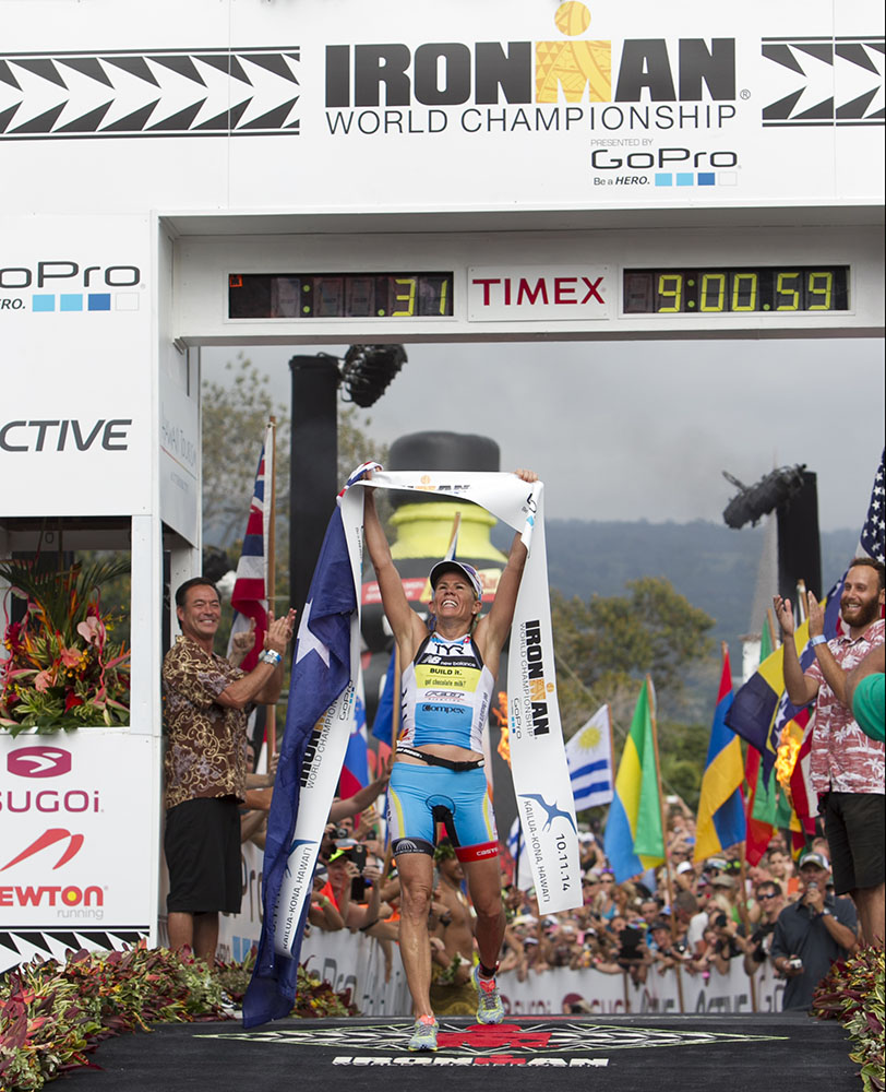 Mirinda Carfrae wins the woman's 2014 IRONMAN World Championship title.