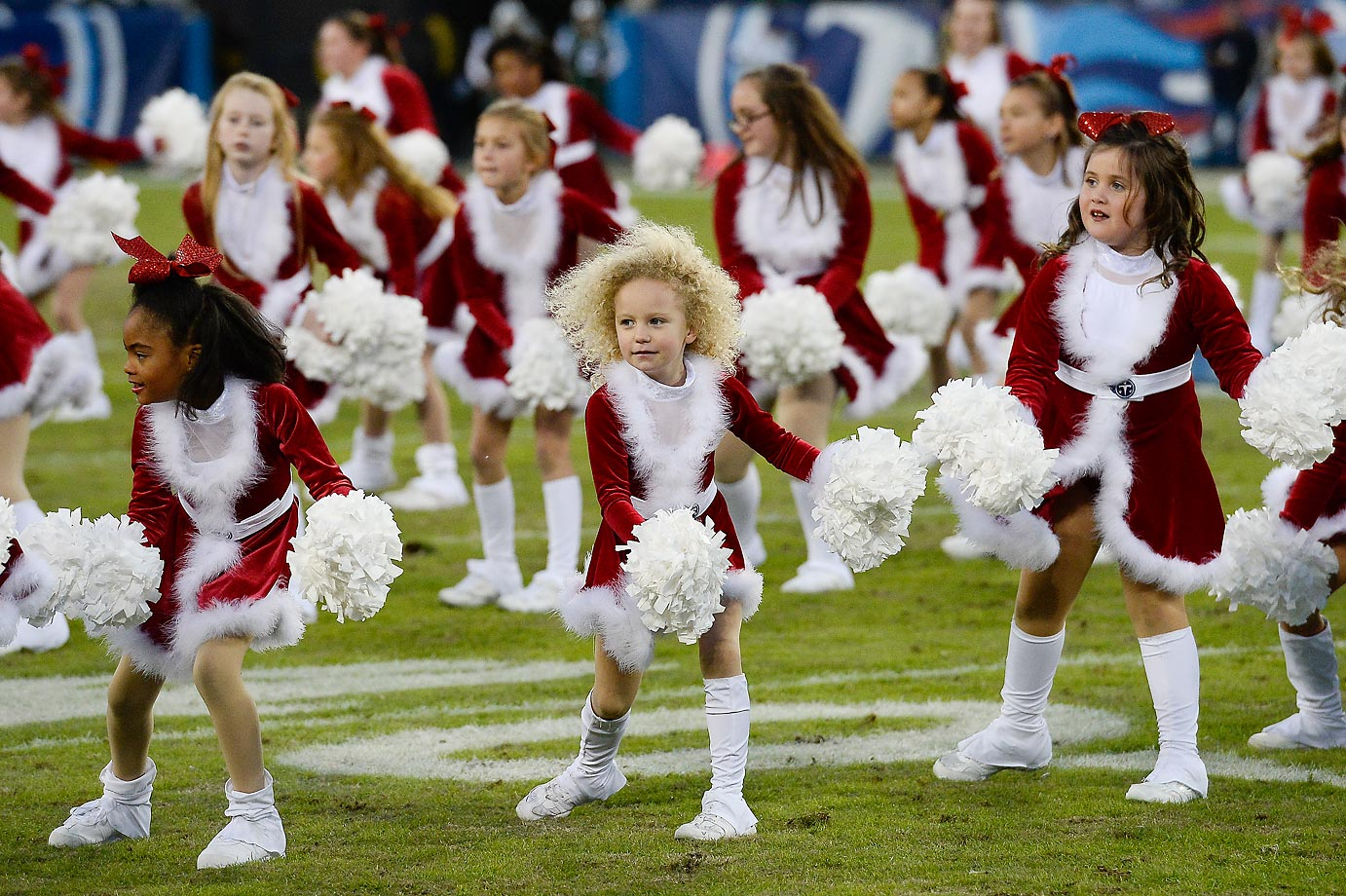 Cheerleaders perform at the game between the Tennessee Titans and the New York Jets.