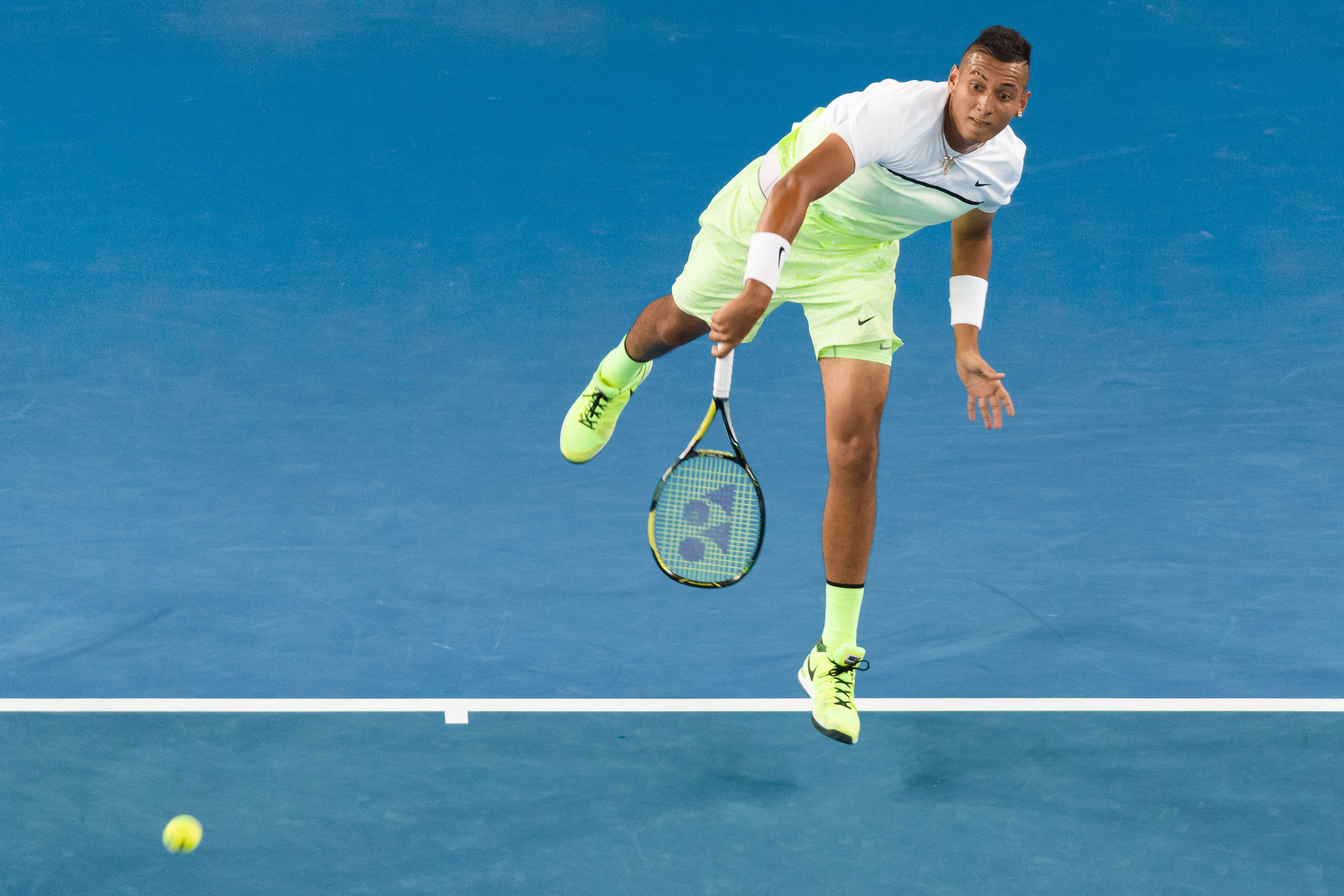 It's the fluorescent version of Dimitrov's kit and the 19-year-old has lit it up.