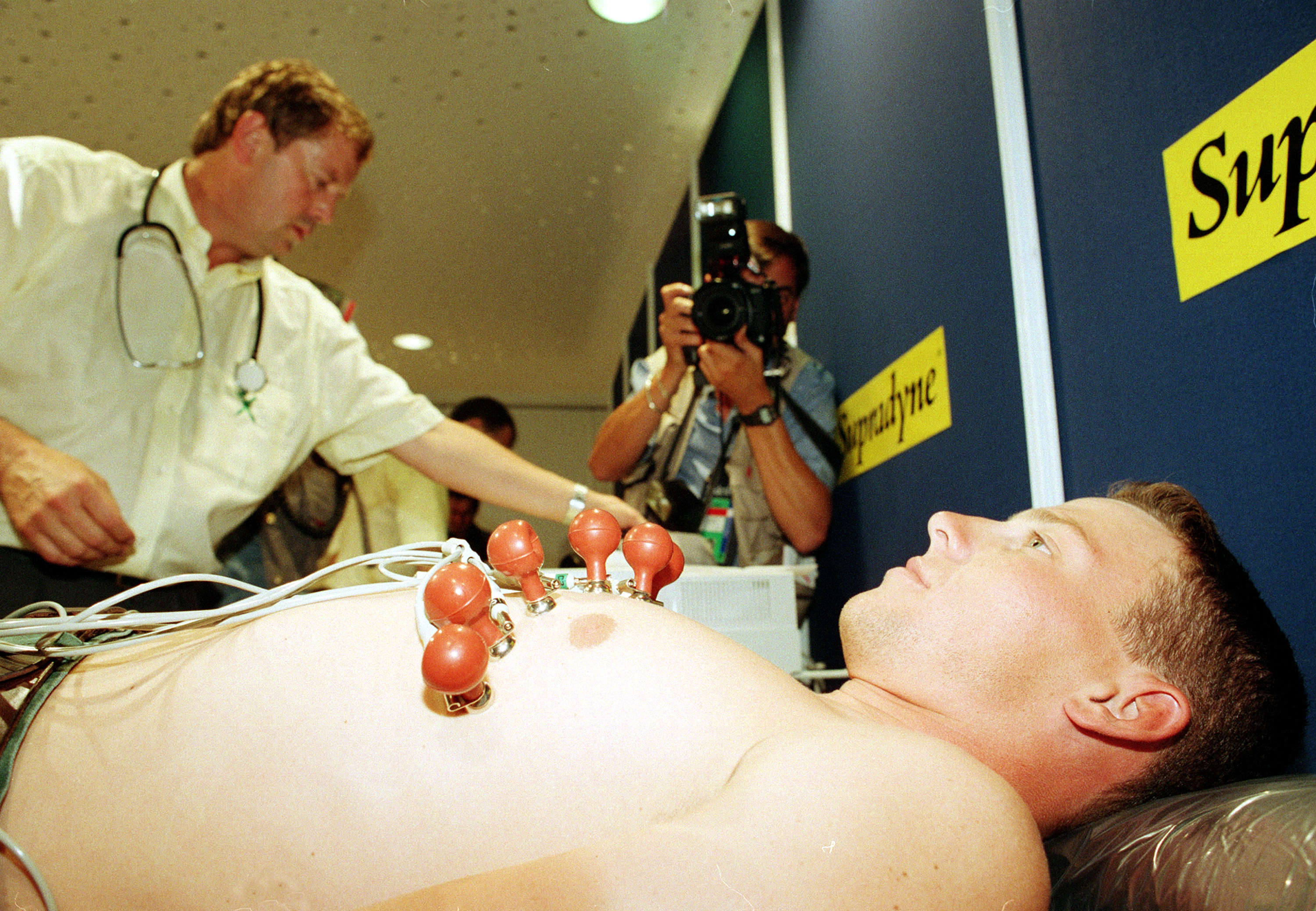 American cyclist Lance Armstrong undergoes a medical examination in Lille, northern France, in June 1994, a few days before the start of the 81st Tour de France cycling race.