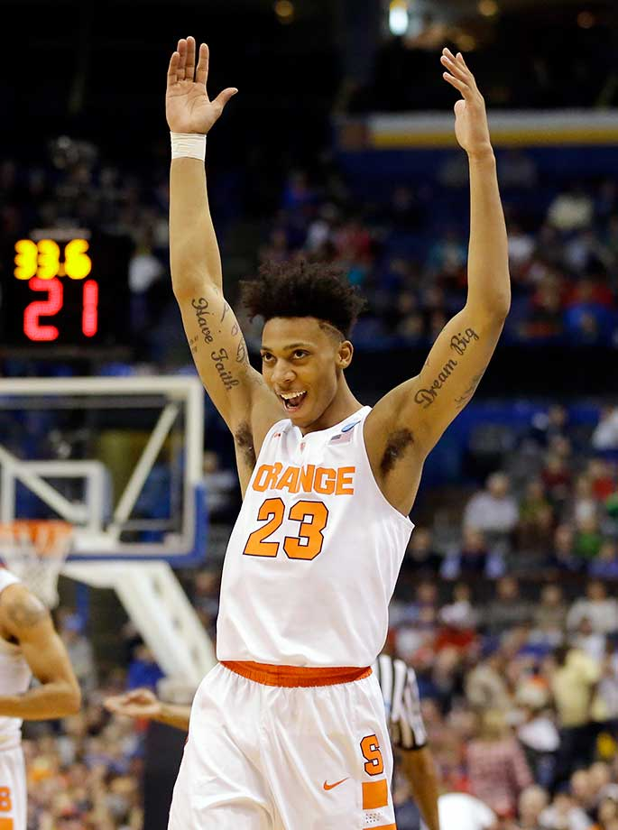 Syracuse's Malachi Richardson celebrates as the Orange advanced to the Sweet 16 a year after a postseason ban.