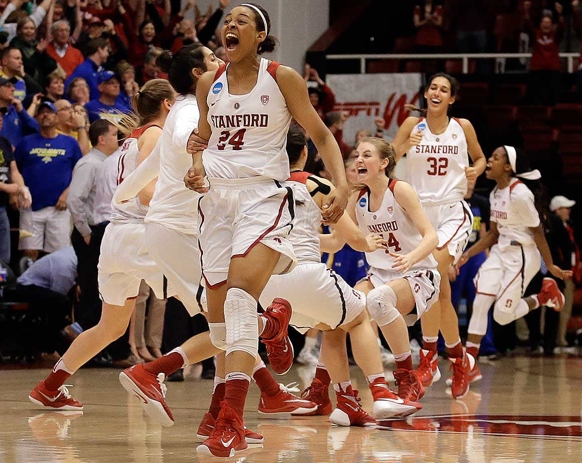 Stanford's Erica McCall, left, Karlie Samuelson (44) and Kailee Johnson (32) celebrate the win over South Dakota State.