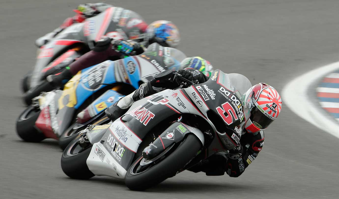 Moto2 rider Johann Zarco of France leads the pack during Argentina's Motorcycle Grand Prix.