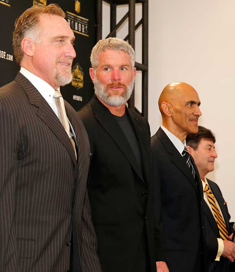 Former NFL players Kevin Greene, Brett Favre and Tony Dungy after learning they will be inducted into the Pro Football Hall of Fame class of 2016.