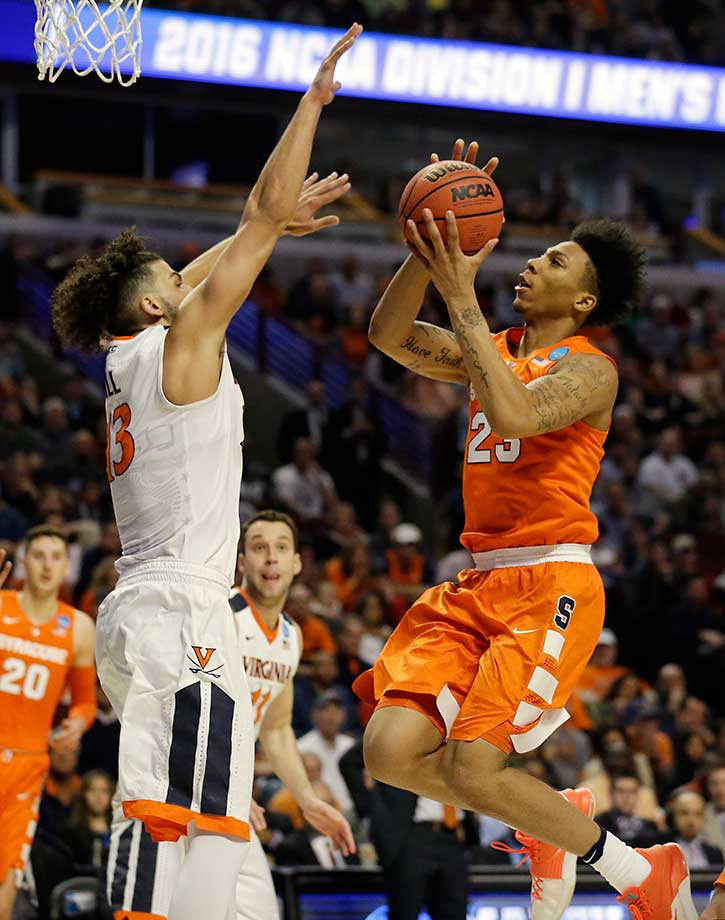 Malachi Richardson lead Syracuse on a 25-4 run, including 15 points in a row at one point, to erase a 54-39 deficit.