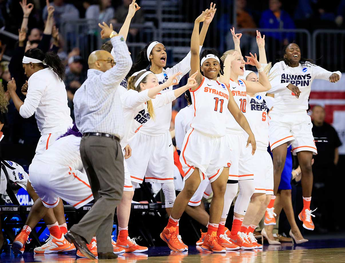 The Syracuse women are joining the men in reaching a Final Four this season, doing so on the strength of an 89-67 win over Tennessee on Sunday.