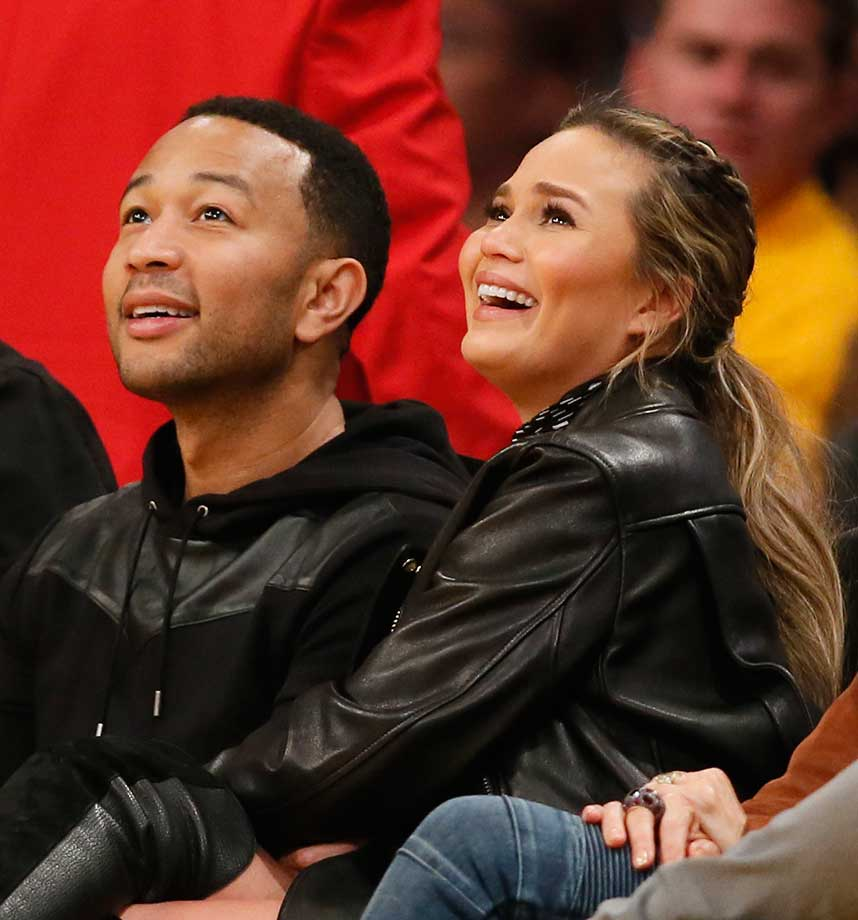 Musician John Legend and model wife Chrissy Teigen at the Lakers-Cavaliers game in L.A.