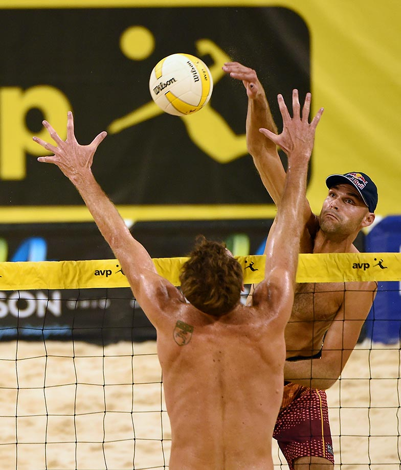 Phil Dalhausser (in hat) finished third and tallied 34 kills.