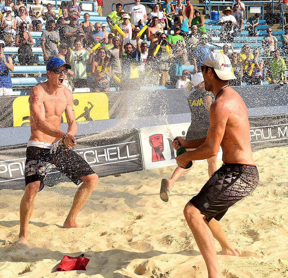 Tri Bourne and John Hyden celebrated their first victory as teammates on the AVP tour.