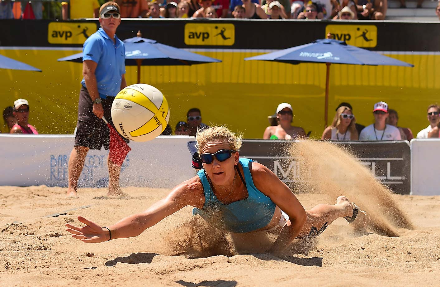 Kerri Walsh Jennings goes all out for a driven ball. She had 39 digs for the week.