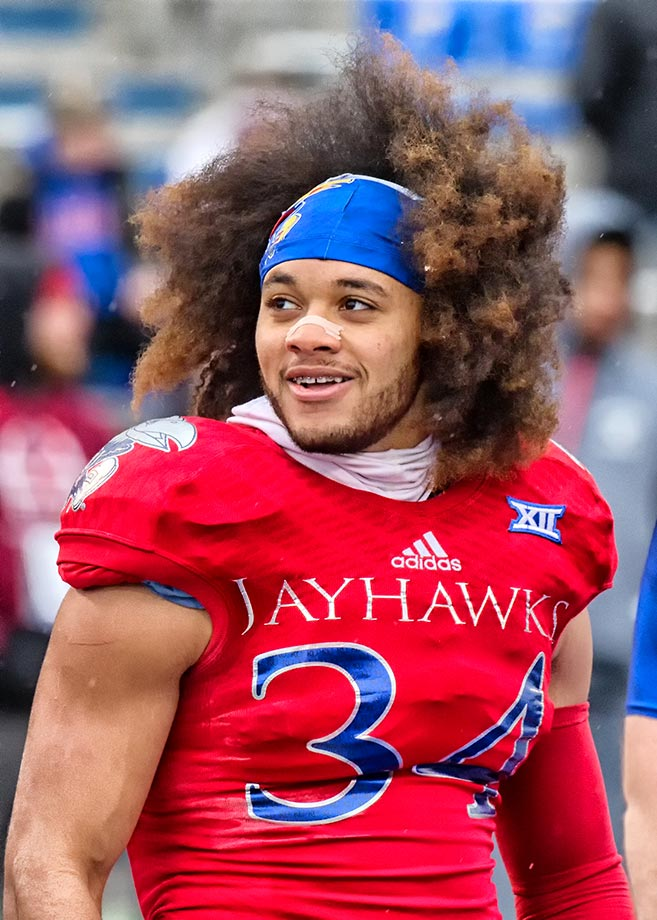 Aaron Plump of Kansas show off his hair at a game against Kansas State.