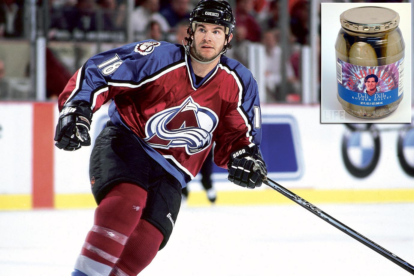 In the 1990s, the Avalanche winger's name skated on a line of deli dills (kosher, yet!), pickle pucks (something to break your teeth on) and steak sauce.