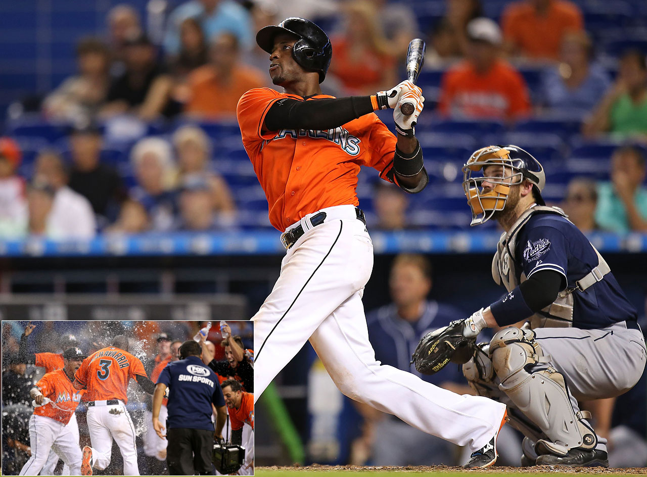 Adeiny Hechavarria of the Miami Marlins hit a three-run walk-off home run to give the Marlins a 5-2 win over the San Diego Padres on Aug. 2.